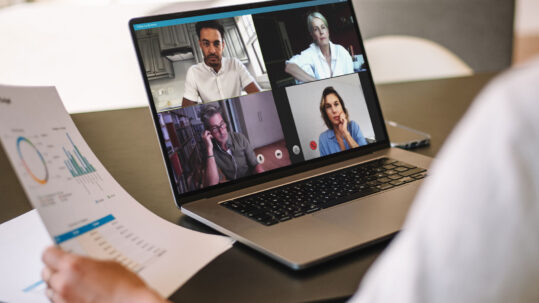 Team meeting on a video call